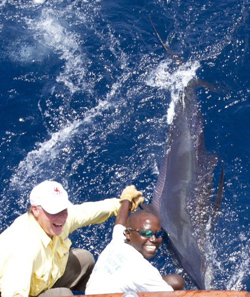 Holding Blue Marlin's Fin